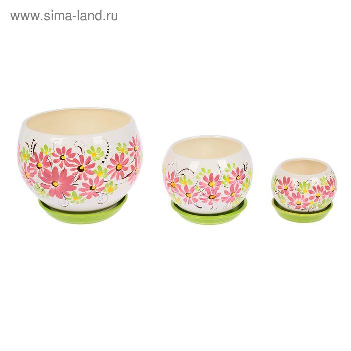 """Набор кашпо """"Шар"""" цветы, зелёный, 0,4 л/ 1,4 л/ 4,1л"""