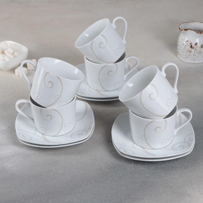 Набор чайный на 6 персон Caress Modern, 12 предметов: 6 чашек 250 мл, 6 блюдец