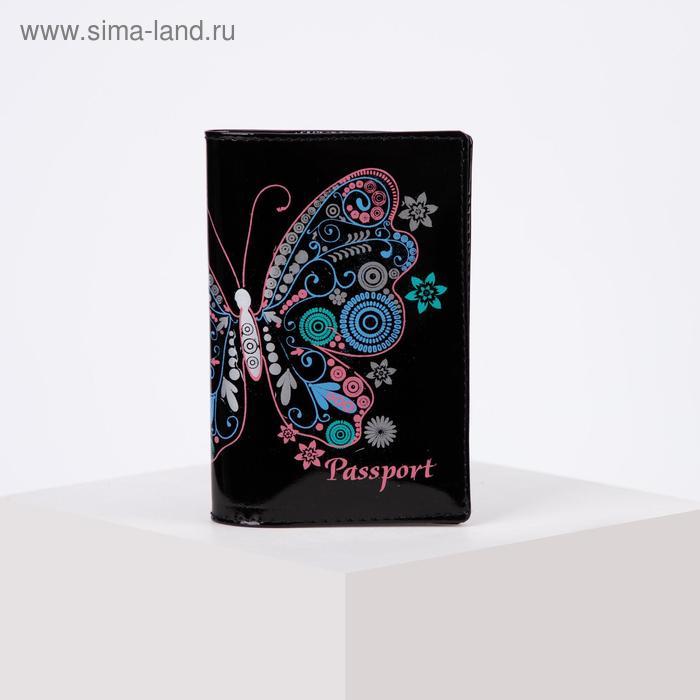 """Обложка для паспорта """"Бабочка"""", цвет чёрный"""