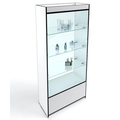 Стеллаж 2000х850х400 мм, сквозной, без боковых стекол, цвет белый с черной кромкой