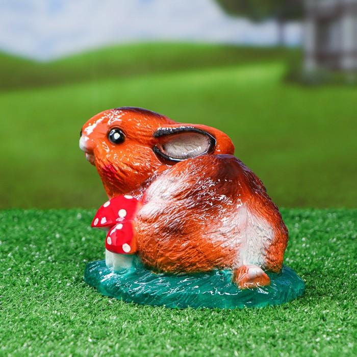 """Садовая фигура """"Заяц на поляне цветной"""" 19x13 см"""