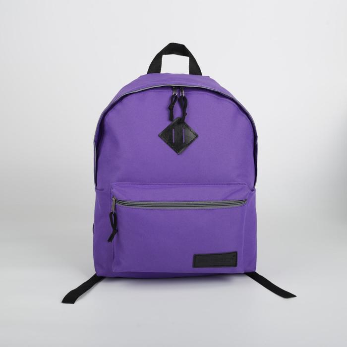 Рюкзак молодёжный, отдел на молнии, наружный карман, цвет фиолетовый - фото 362130