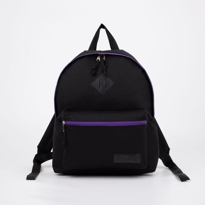 Рюкзак молодёжный, отдел на молнии, наружный карман, цвет чёрный - фото 362135