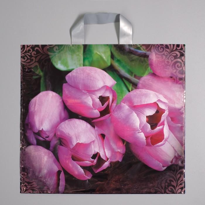 """Пакет """"Дивные тюльпаны"""", полиэтиленовый с петлевой ручкой, 38 х 35 см, 85 мкм - фото 177690333"""