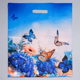 """Пакет """"Бархатные бабочки"""", полиэтиленовый с вырубной ручкой, 40 х 50 см, 45 мкм"""