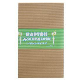 Картон цветной гофрированный А4, 300гр, бурый