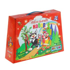 Коробка для школьного набора «Пол и Граф» с пластиковой ручкой, 360 х 252 х 100 мм, красная