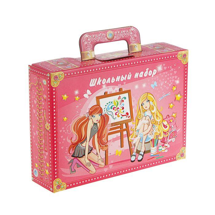 Коробка для школьного набора, розовая, 320х230х75мм