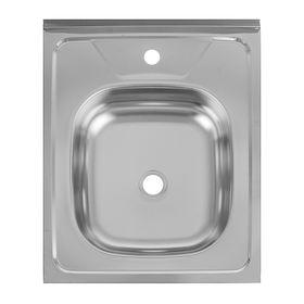 """Мойка кухонная """"Кромрус"""", накладная, без сифона, 50х60 см, нержавеющая сталь 0.4 мм"""
