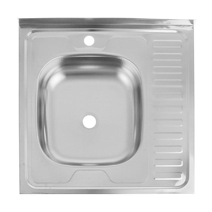 "Мойка кухонная ""Кромрус"", накладная, без сифона, 60х60 см, левая, нержавеющая сталь 0.4 мм"