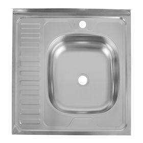 """Мойка кухонная """"Кромрус"""", накладная, без сифона, 60х60 см, правая, нержавеющая сталь 0.4 мм   240488"""