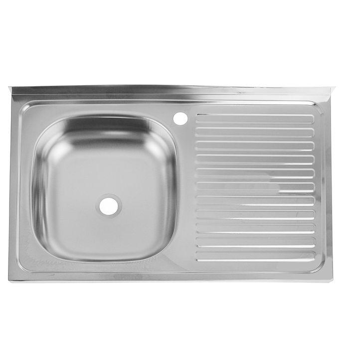 "Мойка кухонная ""Кромрус"", накладная, без сифона, 50х80 см, левая, нержавеющая сталь 0.4 мм"