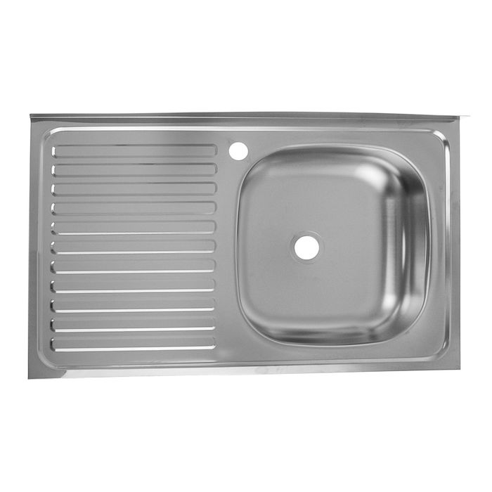"""Мойка кухонная """"Кромрус"""", накладная, без сифона, 50х80 см, правая, нерж сталь 0.4 мм"""