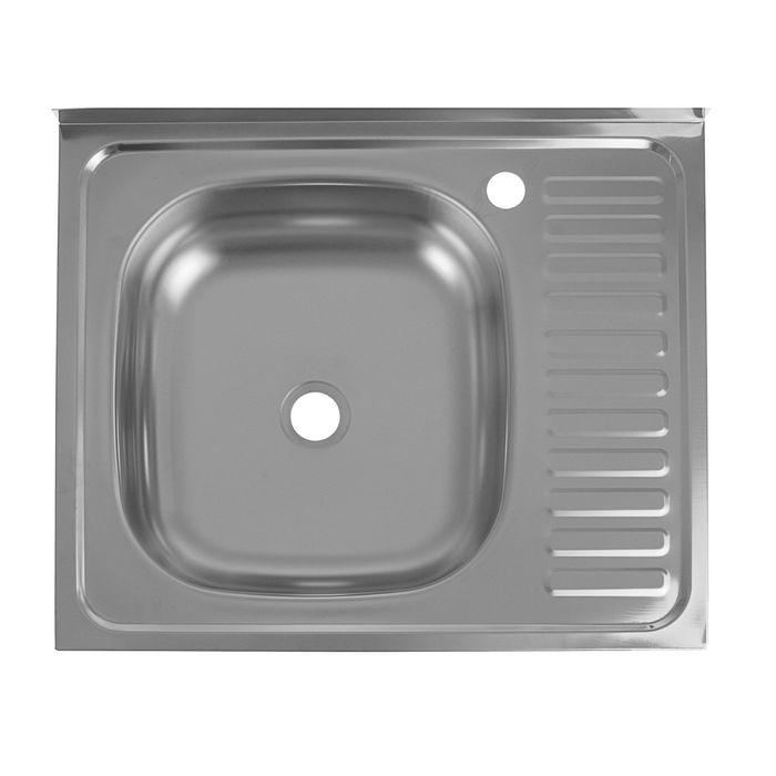 "Мойка кухонная ""Кромрус"", накладная, без сифона, 60х50 см, левая, нержавеющая сталь 0.4 мм"