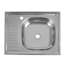 """Мойка кухонная """"Кромрус"""", накладная, без сифона, 60х50 см, правая, нержавеющая сталь 0.4 мм   240488"""
