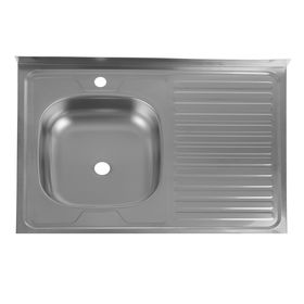 "Мойка кухонная ""Кромрус"", накладная, без сифона, 60х80 см, левая, нержавеющая сталь 0.4 мм"