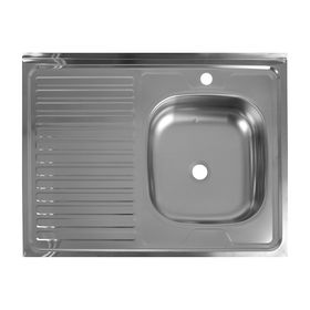 """Мойка кухонная """"Кромрус"""", накладная, без сифона, 60х80 см, правая, нерж сталь 0.4 мм"""