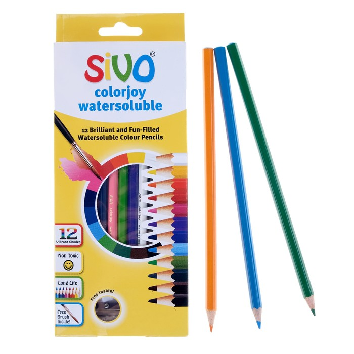 Карандаши акварельные 12 цветов Sivo Colorjoy, шестигранные + ПОДАРОК : кисть, точилка
