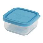 Bormioli Rocco Стеклянный контейнер Frigoverre квадратный 10*10 см, 240 мл, с синей крышкой   246611