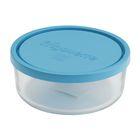 Bormioli Rocco Стеклянный контейнер Frigoverre круглый d-12 см, 300 мл, с синей крышкой