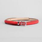 Ремень женский, гладкий, ширина 0.8 см, пряжка тёмный металл, цвет красный