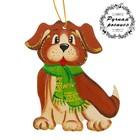 Фигурка плоская Собачка в зеленом шарфике, ручная работа