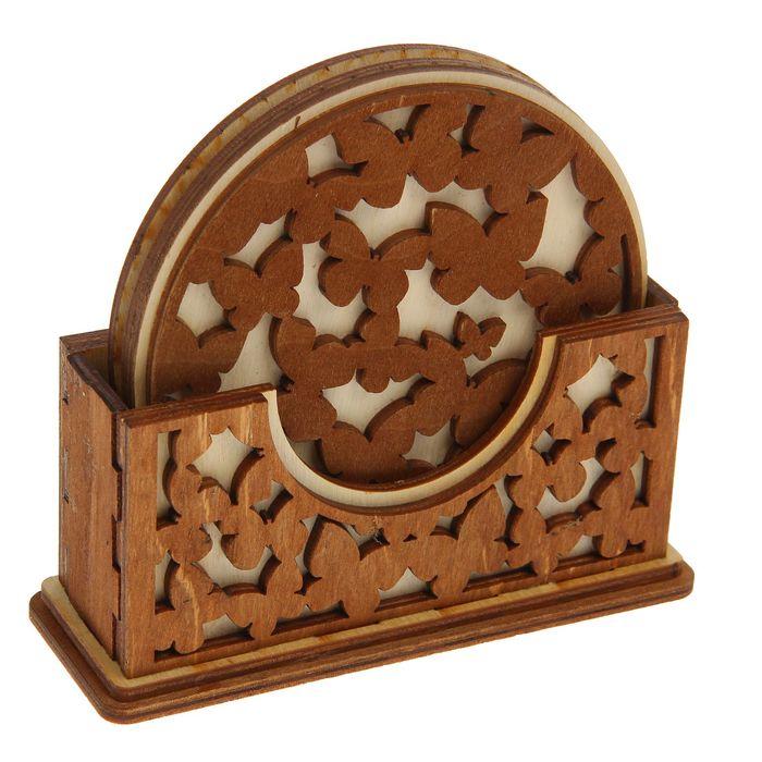 """Подставка для кружек с держателем для декора """"Бабочка"""" набор 4 предмета, 12,5х11х4,5 см"""