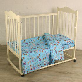 """Детское постельное бельё BABY """"Лесная сказка"""", цвет голубой, 112х147 см, 110х150 см, 60х60 см, бязь 142 гр/м"""