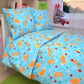 """Детское постельное бельё BABY """"Мишки"""", цвет голубой, 112х147 см, 110х150 см, 60х60 см, бязь 142 гр/м"""
