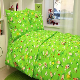 "Детское постельное бельё BABY ""Овечки"", цвет зеленый 112х147 см, 110х150 см, 60х60 см, бязь 142 гр/м"