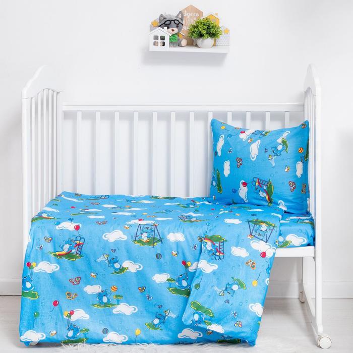 """Детское постельное бельё BABY """"Слоники"""", цвет голубой, 112х147 см, 110х150 см, 60х60 см, бязь 142 гр/м - фото 7410308"""