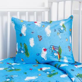 """Детское постельное бельё BABY """"Слоники"""", цвет голубой, 112х147 см, 110х150 см, 60х60 см, бязь 142 гр/м - фото 7922396"""