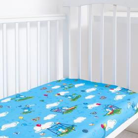 """Детское постельное бельё BABY """"Слоники"""", цвет голубой, 112х147 см, 110х150 см, 60х60 см, бязь 142 гр/м - фото 7922397"""