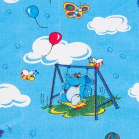 """Детское постельное бельё BABY """"Слоники"""", цвет голубой, 112х147 см, 110х150 см, 60х60 см, бязь 142 гр/м - фото 7922398"""
