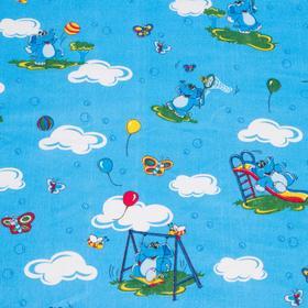 """Детское постельное бельё BABY """"Слоники"""", цвет голубой, 112х147 см, 110х150 см, 60х60 см, бязь 142 гр/м - фото 7922400"""