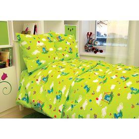 """Детское постельное бельё BABY """"Слоники"""", цвет зеленый 112х147 см, 110х150 см, 60х60 см, бязь 142 гр/м"""