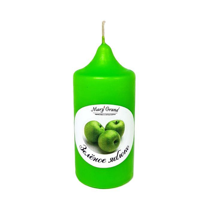 Свеча цилиндр ароматическая «АРОМА», зелёное яблоко, 8.5 х 4 см