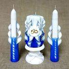"""Набор свечей резных """"Свадебный"""", синий: Домашний очаг, Родительские свечи, подсвечник"""