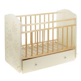 Детская кроватка «Морозко. Бабочки» с ростомером, на маятнике, с ящиком, цвет белый/берёза