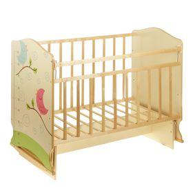 Детская кроватка «Морозко. Птички» на качалке с поперечным маятником, цвет бежевый/берёза