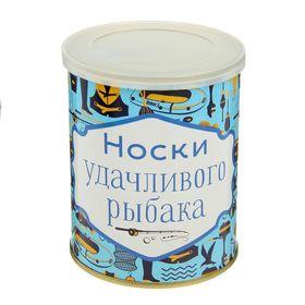 Носки мужские в консервной банке 'Удачливого рыбака', 1 пара, чёрные, р. 41-43 Ош