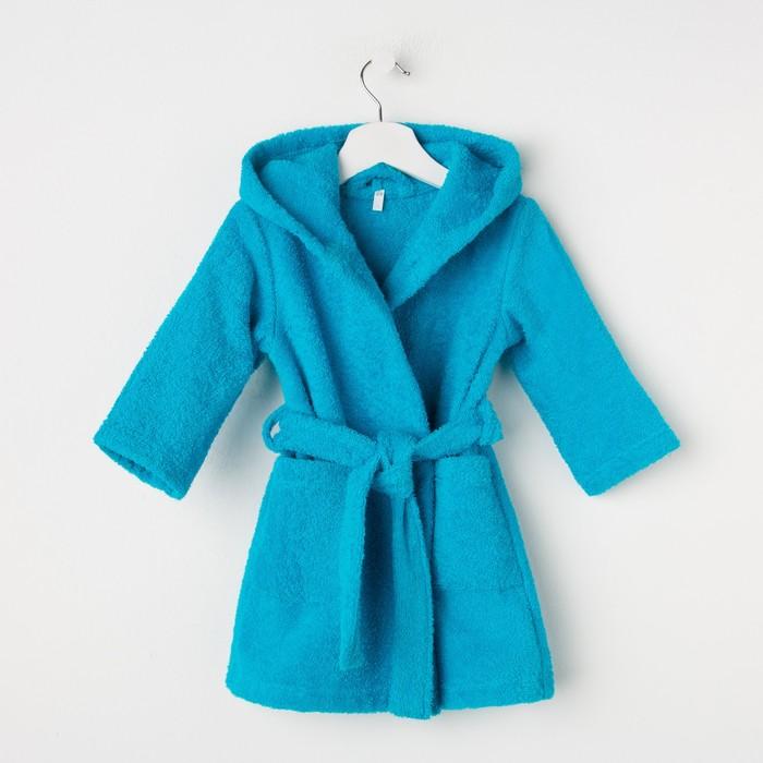 Халат махровый детский, размер 28, цвет морской, 340 г/м2 хл.100% с AIRO - фото 1394921