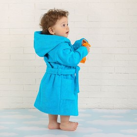 Халат махровый детский, размер 28, цвет морской, 340 г/м2 хл.100% с AIRO - фото 1394923