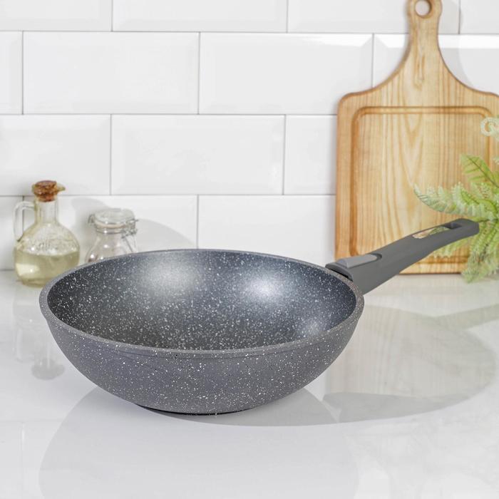 Сковорода-ВОК «Гранит», 28×9 см, съёмная ручка, цвет МИКС