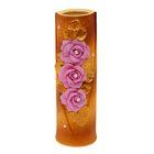 """Ваза """"Ромашка"""" средняя, роза с бусиной, розово-коричневая"""