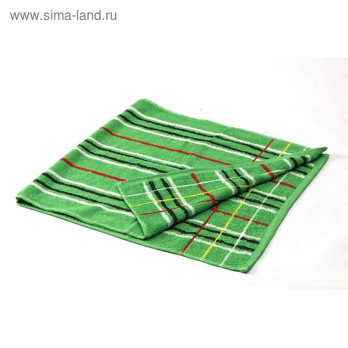 Полотенце махровое полоса-2 Зеленое 48х100 см, 350г/м, хл100%