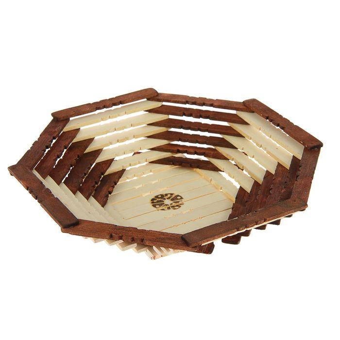 Корзинка-хлебница деревянная, двухцветная