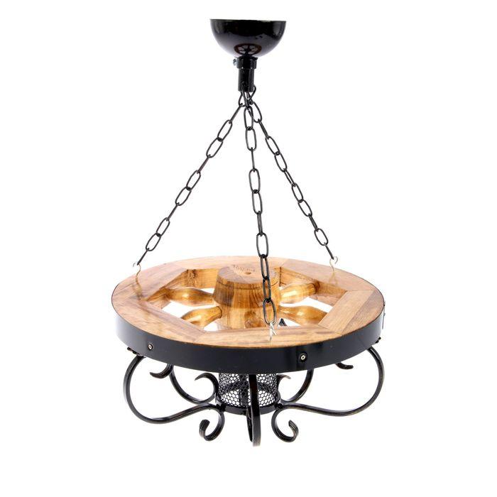 Люстра деревянная с ковкой, 40 см, 1 лампа