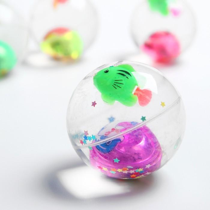 Мяч световой «Рыбка», с водой, 5,5 см, цвета МИКС