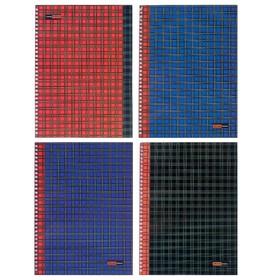 Тетрадь А4, 96 листов в клетку на гребне «Шотландка», обложка мелованный картон, глянцевая ламинация, МИКС